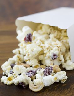 White Chocolate Cranberry Cashew Popcorn (substituted pretzels for cashews cause that what I had)