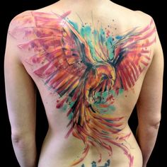 Watercolor back tattoo