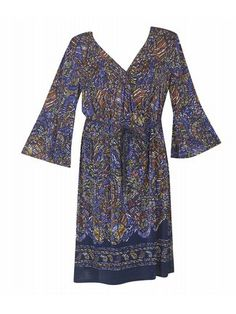 Plus Size Blue Belted Faux Wrap Dress