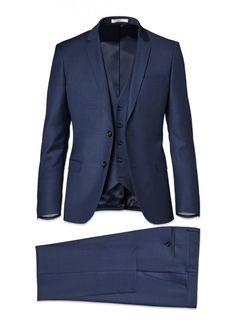 Costume 3 pièces slim fit - Laine vierge iTravel - Bleu minéral - Fil-à-fil