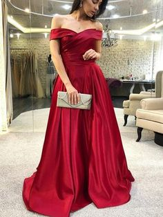 Bezauberndes schulterfreies rotes A Line Abendkleid sexy rotes Abendkleid Prom Dresses With Pockets, A Line Prom Dresses, Cheap Prom Dresses, Formal Evening Dresses, Evening Gowns, Strapless Dress Formal, Evening Party, Party Dresses, Sexy Dresses