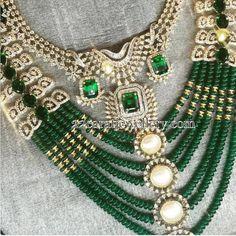 Jewellery Designs: Emerald Beads and Diamonds Set