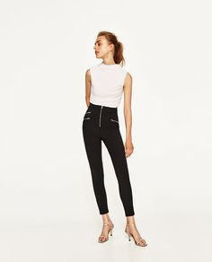 Image 1 of HIGH NECK RIBBED T-SHIRT from Zara