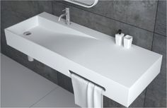 Val'e Wall Mounted Sink – A wall mounted solid surface sink with a sharp look yet beautiful curvature, medium thickness rim and a sleek matte finish. Val'e is tall, Long & deep, perfect for many applications. Small Bathroom With Shower, Modern Bathroom Sink, Bathroom Sink Vanity, Bathroom Renos, Bathroom Design Inspiration, Bad Inspiration, Bathroom Interior Design, Spa Interior, Wall Mounted Basins