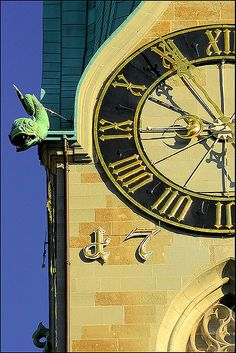 the clock  Zurich-known for timepieces, they are all over the city