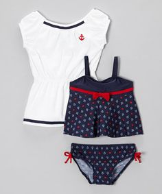 Look what I found on #zulily! Navy Sail-Love Tankini & Coverup - Infant, Toddler & Girls #zulilyfinds
