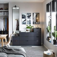 Smart solutions for selective shoppers - IKEA Bedroom Setup, Room Design Bedroom, Ikea Bedroom, Room Ideas Bedroom, Home Decor Bedroom, Nordli Ikea, Ikea Deco, Black Bedroom Furniture, Dark Furniture