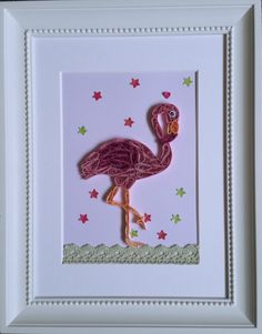 Pink Flamingo Quilling Paper Art by windcrafts2015 on Etsy