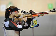 Daria Vdovina of Russia competes in the Women's 10m Air Rifle Shooting Final on Day 1 of the London 2012 Olympic Games at The Royal Artillery Barracks on July 28, 2012 in London, England.