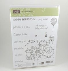 Stampin Up FROM THE HERD Happy Birthday Card Photopolymer Stamp set  #StampinUp