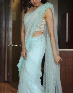 Pranitha subhash in Architha Narayanam runway collection Lace Saree, Saree Dress, Net Saree, Lehenga Blouse, Saree Blouse Patterns, Saree Blouse Designs, Fancy Sarees, Party Wear Sarees, Indian Designer Outfits