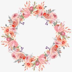 hand-painted garlands, Flowers, Wreath, Hand Painted PNG Image and Clipart Watercolor Flowers Tutorial, Wreath Watercolor, Flower Tutorial, Flower Circle, Flower Frame, Flower Art, Flower Background Design, Pinturas Disney, Wreath Drawing