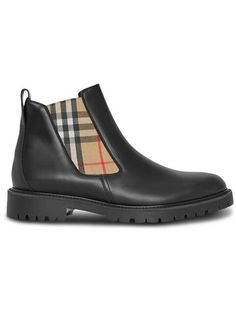 0dac3330e62 BURBERRY Vintage Check Detail Leather Chelsea Boots. IT MY LIFE · Shoes
