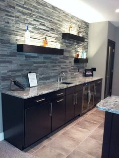 Black Mountain - Pro Fit® Alpine Ledgestone - Cultured Stone - Stone - Boral USA -- Wet Bar Back Splash