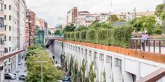 jardins de la rambla de sants is an elevated park in barcelona