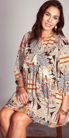 """Fall into this Printed Tunic/Dress - add leggings and boots and off you go! Available in XL, 1XL and 2XL.  Small, Medium and Large Coming Soon!          Curvy Girls will """"Fall"""" for this new arrival.  It's so cute and the perfect color to welcome October.            - $52"""