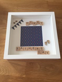 First fathers Day - personalised memory frame - handmade