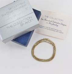 Vintage 1977 Signed Avon 14K Gold Filled 1/20 14KT GF Chain Choker Length Necklace The Collection S M Kent Neckchain in Original Box nib by ThePaisleyUnicorn on Etsy