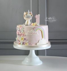 Unicorn 1st Birthday Cake White Rose Cake Design Cake Maker in Holmfirth West Yorkshire