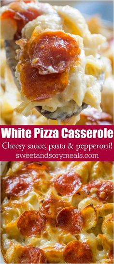 "White Pizza Casserole ""A delicious blend of cheesy white pizza sauce, pasta and lots of pepperoni, baked to crispy perfection in a casserole dish."""