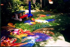 A tropical outdoor floor mural I was commissioned to do.  You can't tell it, but it was 30 feet long.