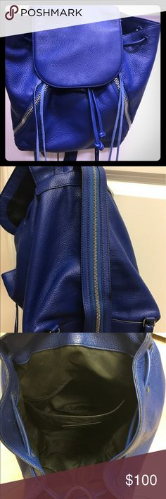 "Rebecca Minkoff leather cobalt backpack Rebecca Minkoff Medium Julian Cobalt Blue Backpack with tassels. Used twice in great condition. Super for running errands and wanting to look stylish. Italian Grain Leather. Color is BEYOND.                                                                                   Top handle, adjustable backpack straps Zip closure, clasp closure; lined Exterior slip pocket, two exterior zip pockets, two interior zip pockets, interior card slot 8.75""W x 4""D x…"