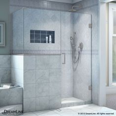 "DreamLine SHEN-2424243636 Unidoor Plus 72"" High x 48"" Wide x 36-3/8"" Deep Hinged Brushed Nickel Showers Shower Enclosures Alcove"