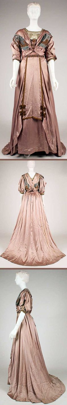 Beautiful detailing. Evening dress, Brand and Le Royer, New York, 1907-08. Silk, metallic thread, floss. Metropolitan Museum of Art