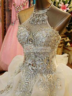 Princess Jewelry Halter Crystals And Rhinestones Bodice Court Train Tulle Flower Ruffle Wedding Dresses [36WDTU6513] - US $788.99