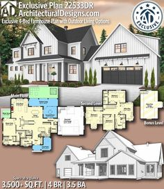 Plan Farmhouse Plan with Outdoor Living Options Architectural Designs Farmhouse Plan gives you 4 bedrooms, baths and sq. The Plan, How To Plan, Style At Home, Casas The Sims 4, Modern Farmhouse Plans, House Blueprints, House Layouts, House Floor Plans, My Dream Home