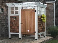 Outdoor Shower Enclosure. After doing yard work, For my dream home :)