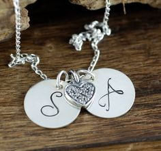 Initial Heart Necklace, Personalized Heart Necklace, CZ Heart Necklace, Anniversary Necklace, Initial Jewelry with Heart, Gift for Wife by AnnieRehJewelry on Etsy Initial Jewelry, Pretty Wallpapers, Hand Stamped Jewelry, Gifts For Wife, Initials, Anniversary, Bracelet, Pendant, Heart