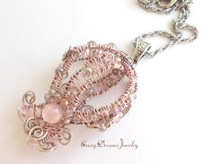 REPIN NOW for later :) New to CrazyDreamsJewelry on Etsy: Light Pink Wire Wrapped Pendant Unique Necklaces for Women Pink Pendant Necklace Wire Pendant Wire Jewelry Elegant Unique Pendant (33.00 USD)