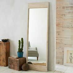 Etched Chevron Floor Mirror