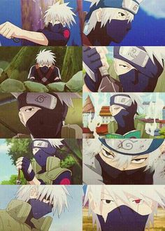 Hatake Kakashi, collage, childhood, young, time lapse, different ages, Sharingan, book, bell test; Naruto