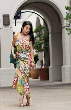 cute  little blog | petite fashion | multicolor maxi dress, bow strap heels, teal tote | spring summer fashion
