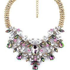 "COMING SOON! COLORFUL CRYSTAL STATEMENT NECKLACE Blue, pink, and white crystals on a gold chain. Gold plated zinc alloy.  Length is 18"" Boutique  Jewelry Necklaces"
