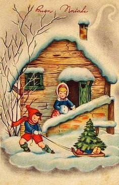 Vintage Christmas Images, Retro Christmas, Vintage Holiday, Christmas Pictures, Christmas Art, French Christmas, Vintage Greeting Cards, Christmas Greeting Cards, Christmas Greetings