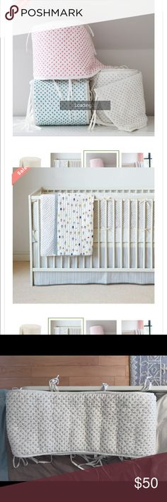 Auggie crib bumper Auggie crib bumper gray stitch and white Auggie Other