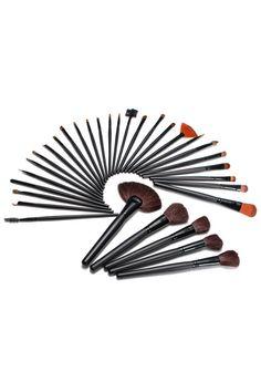 ROMWE | 32Pcs Cosmetic Makeup Hair Brushes Kit Set Black Bag, The Latest Street Fashion