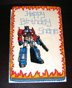 Optimus Prime Transformer cake - half sheet cake with FBCT of Optimus Prime.