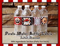Pirate Water Bottle Wrappers  Instant Download by FeelsLikeAParty, $3.00