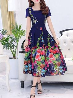 Buy Maxi Dress For Women from Misslook at Chicloth. Online Shopping Chicloth Square neck Maxi Dress Daytime Dress Short Sleeve Boho Printed Floral Dress, The Best Daytime Maxi Dress. Discover unique designers fashion at Chicloth. Floral Chiffon Maxi Dress, Floral Dress Outfits, Girly Outfits, Women's Fashion Dresses, Floral Print Dresses, Chiffon Saree, White Chiffon, Lace Maxi, Classy Outfits