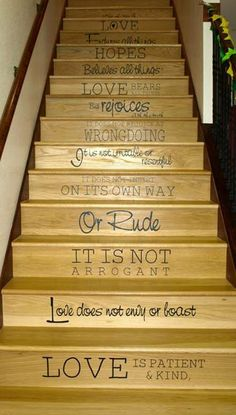 Vinyl lettering Bible verses on the stairs. I love this idea!