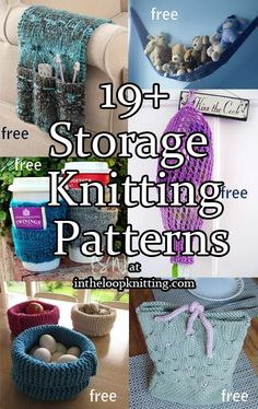 Knitting patterns for storage ideas such as baskets, caddies, and more