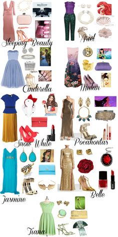 Disney princesses in vintage style. Sleeping Beauty:Classical prom in pink, Cinderella:50s prom in blue, Snow white:40s fashion, Jasmine:Classical dress with exotic jewels,Ariel:Modern vintage,Mulan:50s dress in japanese accessories ,Pocahontas:40s prom, Belle:Old Hollywood glamour, Tiana:Vintage dress in green. :)