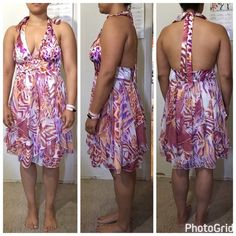 Arisen B party dress size L Purple, white, and orange summer time party dress. Halter neach line and zipper in the back. Arden B Dresses Midi