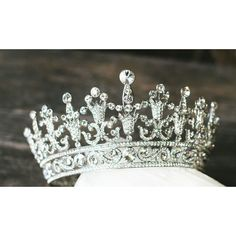 Full Bridal Crown, Swarovski Crystal Wedding Crown, Silver Bridal... ($349) ❤ liked on Polyvore featuring accessories, hair accessories, tiara, jewelry, crowns, medieval, silver hair accessories, bride tiara, swarovski crystal hair accessories and bridal tiara