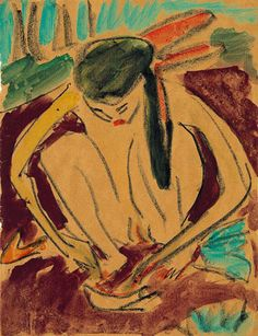 Fille accroupie 1909,ERNST LUDWIG KIRCHNER