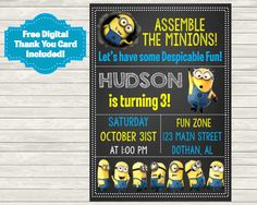 The Minions, Minion Invitation, Minion Party, Minion Birthday, Minions, Minion, Despicable Me, Printable Invitation, Invite, FREE SHIPPING by MKellyDesign on Etsy https://www.etsy.com/listing/247077372/the-minions-minion-invitation-minion